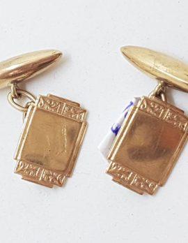 9ct Rose Gold Ornate Rectangular Cufflinks - Antique / Vintage