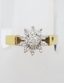 18ct Yellow Gold Diamond Daisy Flower High Set Engagement Ring / Dress Ring - Antique / Vintage