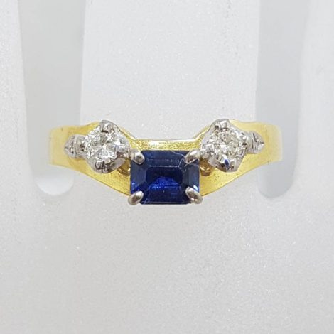 18ct Yellow Gold Rectangular Natural Sapphire with Two Diamond Half Round Eternity / Wedding Ring