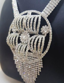 Very Large Rhinestone Round Cluster Drop Plated Necklace / Chain - Bridal / Debutante Jewellery