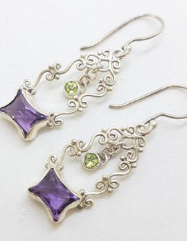Sterling Silver Unusual Cut Amethyst & Peridot Long Ornate Drop Earrings