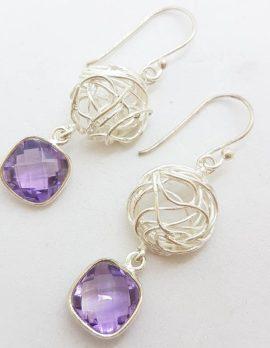 Sterling Silver Square Amethyst Drop Earrings