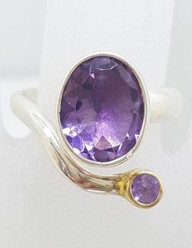 Sterling Silver Twist Style Amethyst Ring