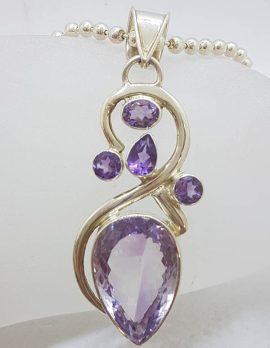 Sterling Silver Large Teardrop Amethyst Ornate Swirl Pendant on Chain