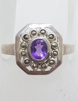 Sterling Silver Marcasite & Amethyst Octagonal Cluster Ring