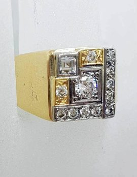 9ct Yellow Gold Unique Large Square Cluster Diamond Ring - Gents Ring / Ladies Ring - Antique / Vintage
