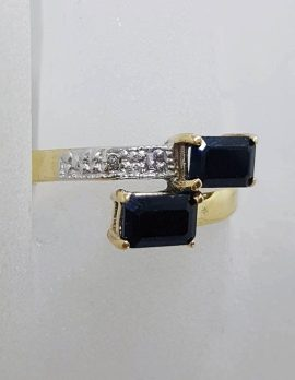 9ct Yellow Gold Rectangular Natural Sapphires with Diamond Ring