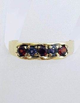 9ct Yellow Gold Garnet and Amethyst Flat Eternity Band Ring - Gypsy Ring Style - Antique / Vintage