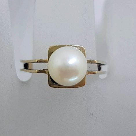 9ct Yellow Gold Solitaire Pearl on Square Ring - Antique / Vintage