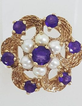 9ct Yellow Gold Amethyst Seedpearl Large Cluster Ring - Antique / Vintage
