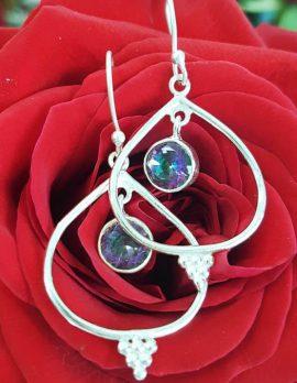 Sterling Silver Round Mystic Quartz / Topaz in Teardrop / Pear Shape Drop Earrings