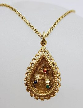 9ct Yellow Gold Round Multi-Colour Gems in Ornate Teardrop / Pear Shape Pendant on Gold Chain – Antique / Vintage