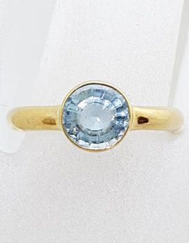 9ct Yellow Gold Round Aquamarine Bezel Set Ring