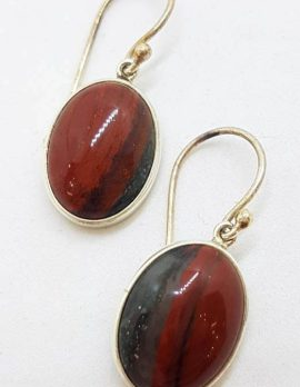 789Sterling Silver Oval Bezel Set Large Dragon Blood Jasper Drop Earrings