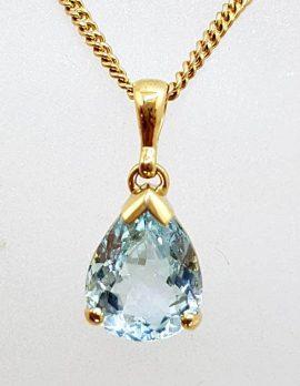 9ct Yellow Gold Aquamarine Teardrop / Pear Shape Pendant on Gold Chain