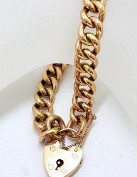 9ct Rose Gold Curb Link Padlock Bracelet - Antique / Vintage