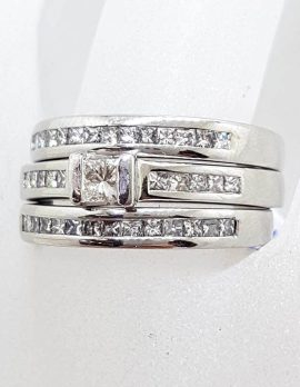 18ct White Gold Princess Cut / Square Cut Diamond Ring Set - Engagement Ring, Wedding Ring and Eternity Ring