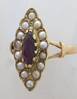 9ct Yellow Gold Elongated Marquis Shape Garnet & Seedpearl Cluster Ring - Antique / Vintage