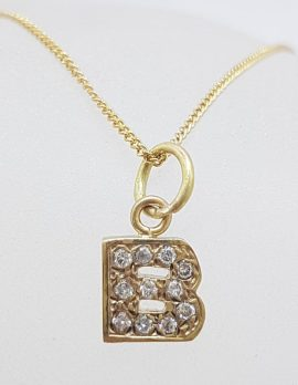 9ct Yellow Gold Diamond Encrusted Initial B Pendant on Gold Chain