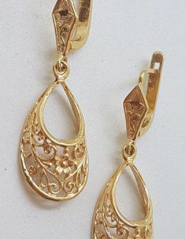 9ct Yellow Gold Ornate Long Drop Filigree Floral Motif Earrings - Vintage / Antique