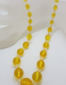 Yellow Crystal Bead Necklace - Vintage