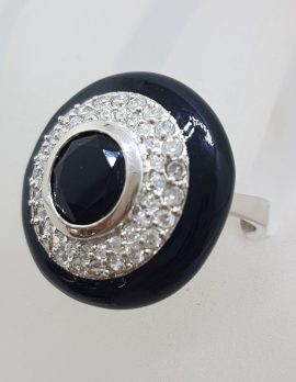 Sterling Silver Very Large Round Black and Clear Cubic Zirconia Cocktail Ring