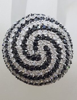 Sterling Silver Very Large Round Swirl Black and Clear Cubic Zirconia Cocktail Ring