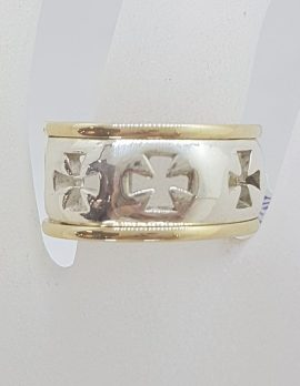 9ct Yellow Gold wide Band with Sterling Silver Cross Patterned Ring - Dress Ring / Wedding Band