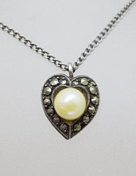 Sterling Silver Marcasite and Pearl Heart Pendant on Silver Chain - Antique / Vintage