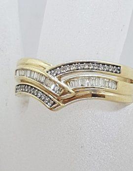 9ct Yellow Gold Wide Diamond Wishbone Shape Ring