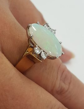 18ct Yellow Gold Large Oval Solid White Opal with Diamond Ring - Antique / Vintage