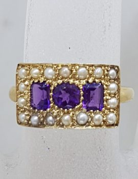 9ct Yellow Gold Wide Rectangular Cluster Ring Set with Amethyst and Seedpearls - Antique / Vintage