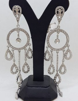 Plated with Swarovski Crystal Shimmer and Glitz Long Chandelier Drop Earrings - Wedding / Debutante / Special Occasion