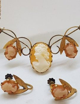 9ct Gold Lined Leaf Design Cameo Necklace and Screw On Earring Set - Ladies Head Cameo - Antique / Vintage - In Original Box