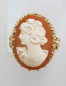 9ct Yellow Gold Large Oval Ornate Set Ladies Head Cameo Ring - Antique / Vintage
