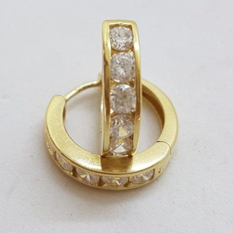 9ct Yellow Gold Channel Set Cubic Zirconia Huggie Hoop Earrings