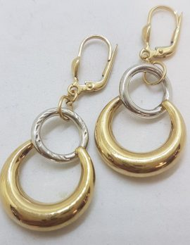 9ct Yellow Gold and White Gold - Two Tone - Circles Drop Earrings