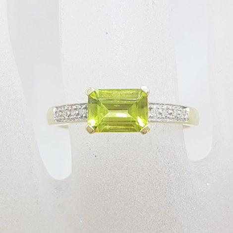 9ct Yellow Gold Rectangular Peridot with Diamond Ring