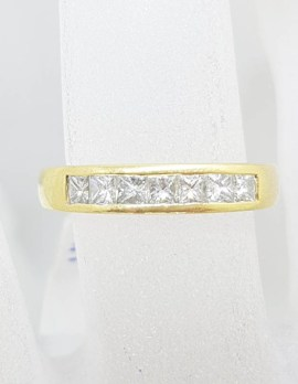 18ct Yellow Gold Channel Set Princess Cut / Square Diamond Ring - Band / Wedding Band / Eternity Ring