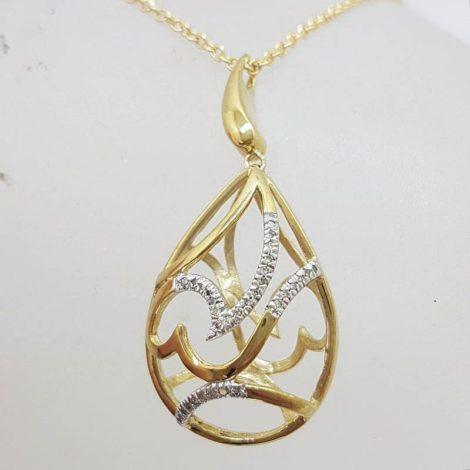 9ct Yellow Gold Large Ornate Open Swirl Design in Teardrop / Pear Shape Pendant set with Diamonds on Gold Chain