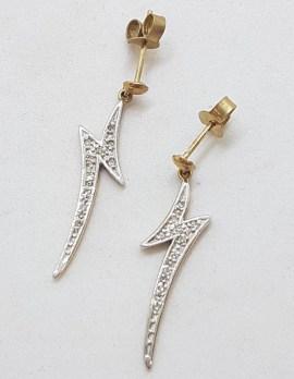 9ct Yellow Gold Long Diamond Zig Zag / Lightning Bolt Drop Earrings