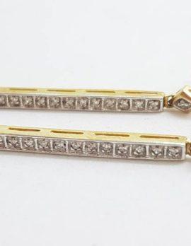 9ct Yellow Gold Long Diamond Line Drop Earrings
