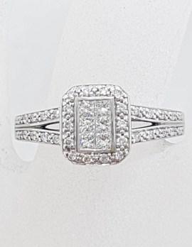 18ct White Gold Rectangular Diamond Cluster Ring