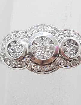 9ct White Gold Diamond Trilogy Cluster Ring - Art Deco Style