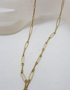 9ct Yellow Gold Oval and Twist Link T-Bar Chain - Antique / Vintage