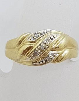 9ct Yellow Gold Wide Diamond Flat Weave Pattern Ring
