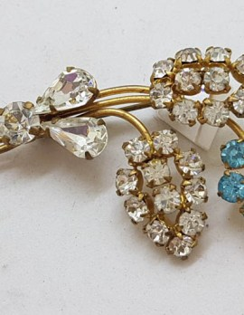 Plated Clear and Blue Rhinestone Floral Brooch - Vintage Costume Jewellery