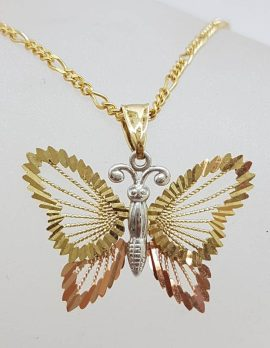 9ct Yellow Gold, Rose Gold and White Gold Ornate Three Tone Butterfly Pendant on Gold Chain