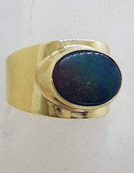 9ct Yellow Gold Wide Band Set with Oval Opal Ring