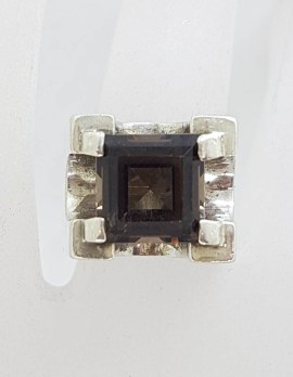 Sterling Silver Square Smokey Quartz Unusual and Bulky High Set Ring - Vintage / Antique